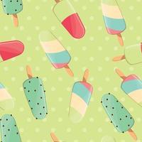 helado de patrones sin fisuras, colorido fondo de verano, deliciosos dulces vector