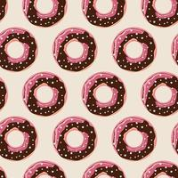 Seamless pattern with colorful tasty glossy donuts, vector illustration