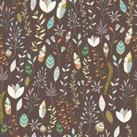 Seamless pattern design with hand drawn flowers, floral elements and feathers vector