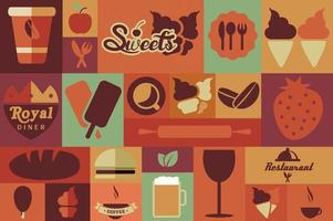 Collection of flat vintage retro food icons, flat design