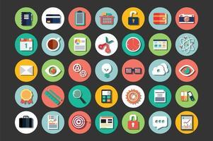 colección de iconos de diseño plano, computación en la nube, comunicación vector