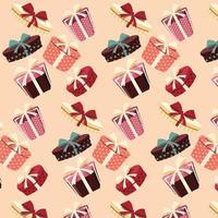 Fondo con cajas de regalo de colores con lazos y cintas en diferentes formas, patrón sin costuras