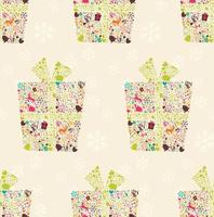 Seamless pattern with ornamental Christmas gift box with reindeers, snowflakes and flowers vector