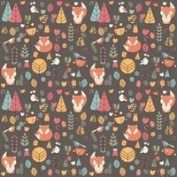 Patrón sin fisuras con lindo bebé zorro navideño rodeado de decoración floral vector