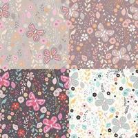 Conjunto de patrones sin fisuras con flores, elementos florales y mariposas, vida natural vector