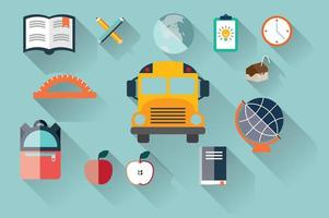Collection of school items icons, flat design, long shadow vector
