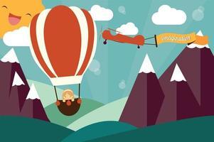 concepto de imaginación - chica en globo aerostático, avión con banner de imaginación volando