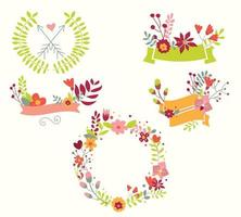 Hand drawn vintage flowers and floral elements for weddings, Valentines day, birthdays and holidays vector