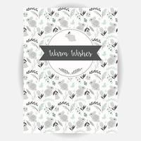 Retro invitation and greeting card design with seamless animal and flower pattern vector