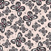 Seamless pattern with colorful butterflies and bees, nature life vector