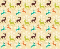 Seamless pattern with reindeers and christmas snowflakes vector
