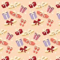Background with colorful gift boxes with bows and ribbons in different shapes, seamless pattern vector