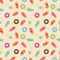 Seamless pattern with ice cream and colorful tasty donuts vector