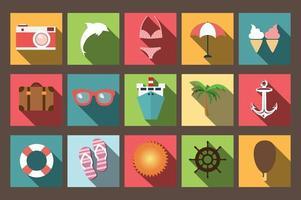 iconos planos de vacaciones de verano con larga sombra, elementos de diseño vector