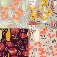 Collection of four vector seamless patterns with floral elements