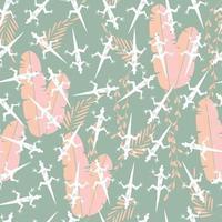 Seamless pattern with cute green rain forest gecko lizard vector
