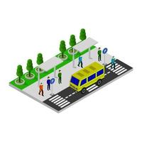 Isometric Bus Stop On White Background