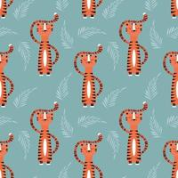 Seamless pattern with cute orange tiger on blue background vector
