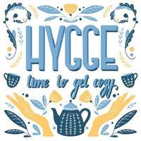 Hygge concept. Hand lettering Scandinavian folk motives design vector