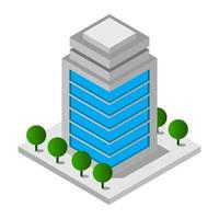 Isometric Skyscraper Illustrated On White Background vector