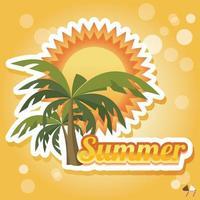 tarjeta de vacaciones de verano con palmeras y chanclas vector