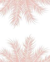 Tropical design with pink palm leaves and plants on white background vector