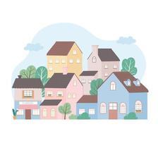 casas residenciales arquitectura de barrio edificio de propiedad diseño de árboles vector