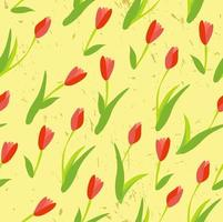 Seamless background with colored tulips. vector