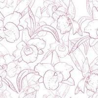 Seamless retro pattern with orchid vector
