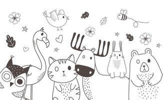 animales lindos bocetos vida silvestre dibujos animados adorables flamencos osos gatos búhos ciervos abejas y pájaros