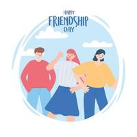 happy friendship day, friend group of people, special event celebration vector