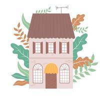multi storey house residential garden front view design vector