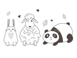 cute animals sketch wildlife cartoon adorable panda sheep and rabbit lovely vector
