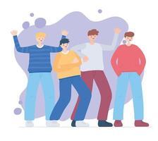 feliz día de la amistad, grupo de personajes masculinos aman corazones, celebración de eventos especiales vector