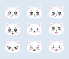 lindos gatos emoticonos dibujos animados varias caras animales graciosas vector
