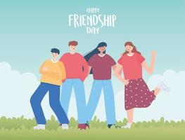 happy friendship day, diverse friend group of people special event celebration vector