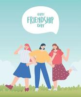 happy friendship day, young group women unity relationship special event celebration vector