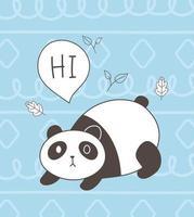 animales lindos bosquejo fauna silvestre dibujos animados adorable pequeño panda fondo azul