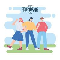 happy friendship day, group of people outdoors, special event celebration vector