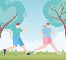 people with medical face mask, couple running in the park, city activity during coronavirus vector