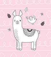 animales lindos bosquejo vida silvestre dibujos animados adorable alpaca pájaro follaje hojas fondo rosa vector