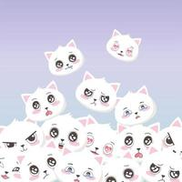 cute white cats faces emoticons cartoon animals background