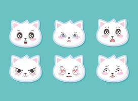 lindos gatitos cabeza emoticonos animales de dibujos animados divertido conjunto vector