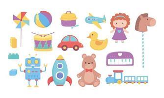 niños juguetes oso muñeca caballo coche tren tambor robot cohete bola avión iconos dibujos animados vector
