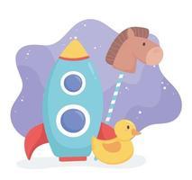 objeto de juguetes para que los niños pequeños jueguen pato cohete de dibujos animados y caballo en palo