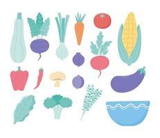 vegetables fresh menu ingredients harvest nutrition bowl icons vector