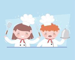 chefs niña y niño personaje de dibujos animados con plato tenedor y espátula vector