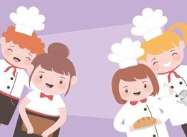 chefs cartoon character boys and girls preparation food vector