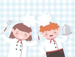 chefs, niña y niño, caricatura, con, plato, tenedor, y, espátula, mantel, plano de fondo vector