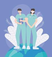 gracias doctores y enfermeras, personal médico enfermero hombre y mujer en el mundo vector